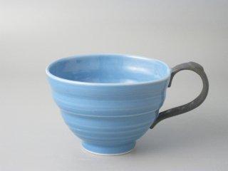 スープカップ ブルー(取っ手黒)