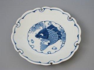 有田焼 雪輪5寸銘々皿 魚紋
