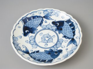有田焼 輪花渕6寸皿 魚藻紋