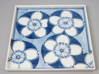 有田焼 桜紋22cm角皿