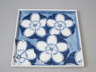有田焼 桜紋18cm角皿