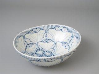 有田焼 花弁紋(青)楕円鉢(中)