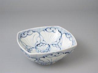 有田焼 花弁紋(青)角小鉢