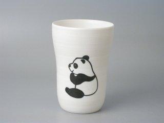 ビールの泡がクリーミーになる!有田焼 白マットスリムカップ パンダ