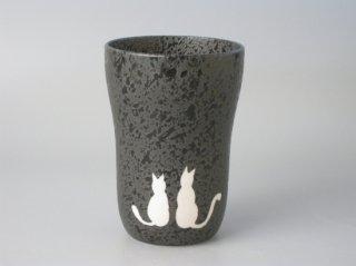 ビールの泡がクリーミーになる!有田焼 焼〆スリムカップ ネコ