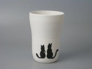 ビールの泡がクリーミーになる!有田焼 白マットスリムカップ ネコ