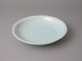 有田焼 青磁彫5.5寸皿