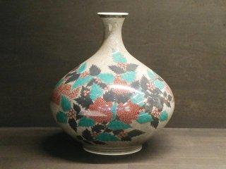 【人間国宝】十三代今右衛門作 色絵薄墨草花文花瓶