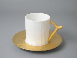 有田焼 木目コーヒー碗皿(ゴールド)