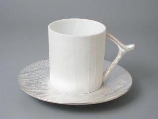 有田焼 木目コーヒー碗皿(シルバー)