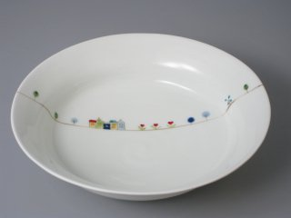 有田焼 楕円ゆるり鉢(大)錦オランダ