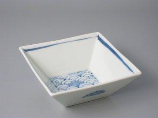 有田焼 4寸角鉢 青海波