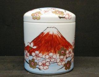 伝統工芸 八右衛門作 錦桜赤富士図骨壺