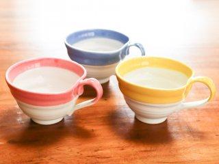 スープカップ【3個セット】ピンク・ブルー・イエロー流し