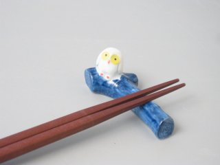 フクロウ箸置き 青