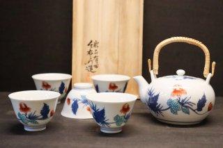 【人間国宝】十三代今右衛門作 錦芥子絵茶器(仙茶5個、土瓶1個)