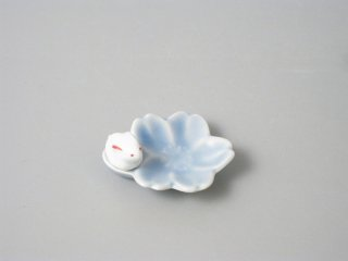 桜うさぎ 箸置き ブルー