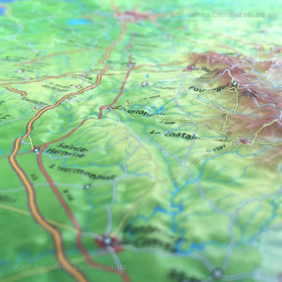 フランス3Dマップ(立体地図)[ペイ・ド・ラ・ロワール地域圏]ワインポストカードUV214PC付 UR104MP