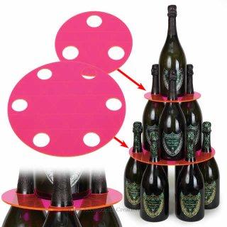 【受注生産】【代引き決済不可】シャンパンタワープレート3段 蛍光ピンク(ボトルのタワー化プレート)RJ154PC-R