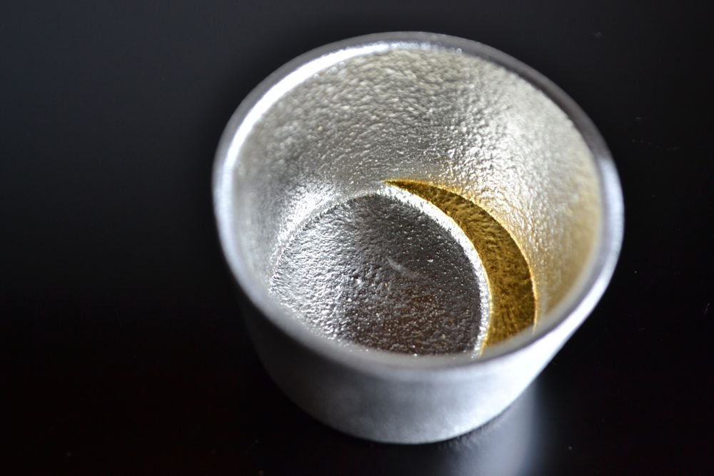 能作 錫ぐい呑-月 金箔