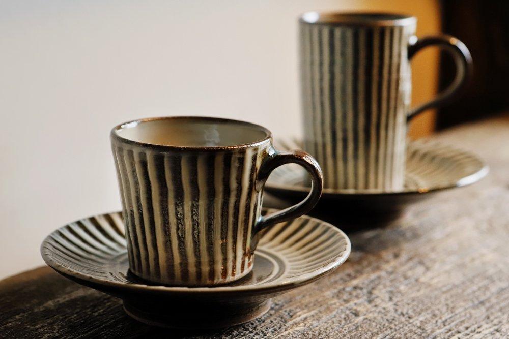 鬼丸豊喜 デミタスコーヒーカップ&ソーサー(ハケ)