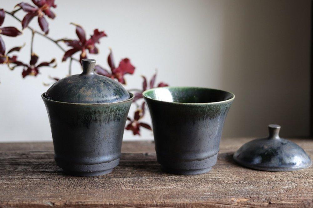 黒木泰等 織部 蓋付小鉢