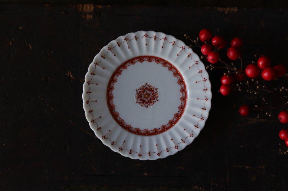 種田真紀 赤絵細描3寸 菊平皿
