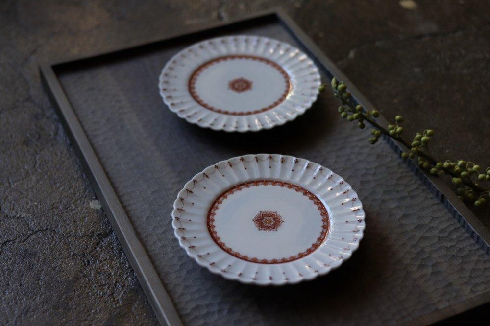 種田真紀 赤絵細描4寸 菊平皿