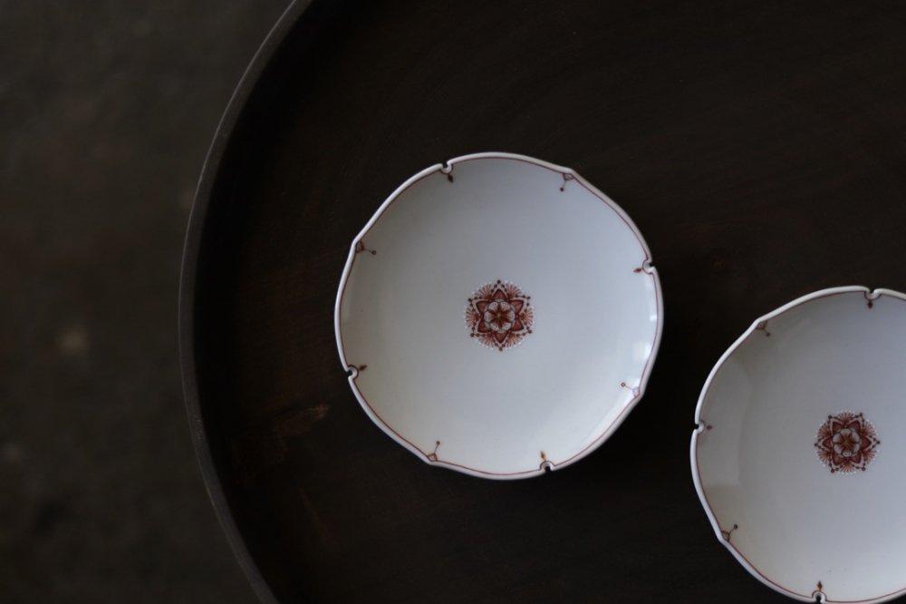 種田真紀 赤絵細描雪文 豆皿