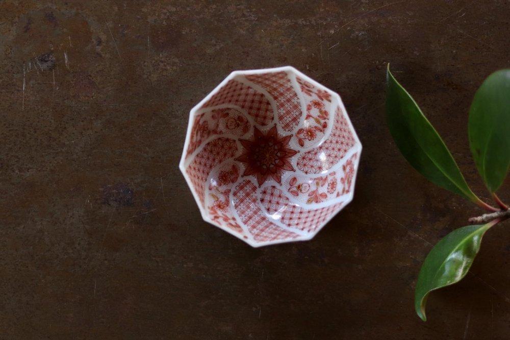 種田真紀 赤絵細描小紋捩り型 盃