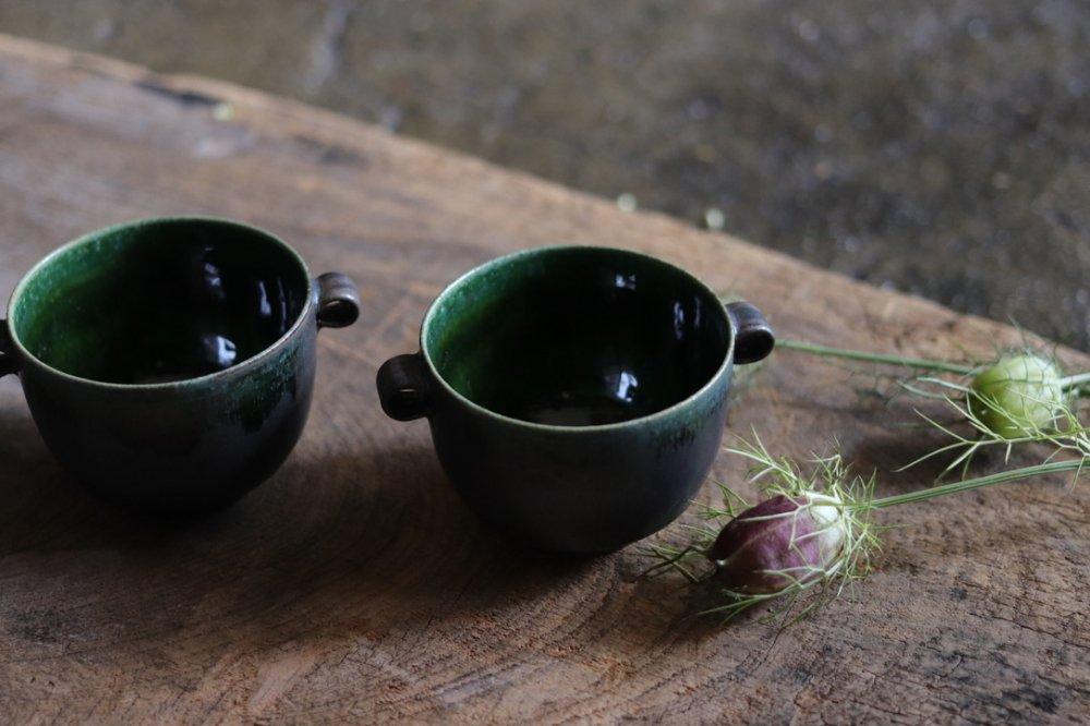 黒木泰等 織部 耳付豆鉢