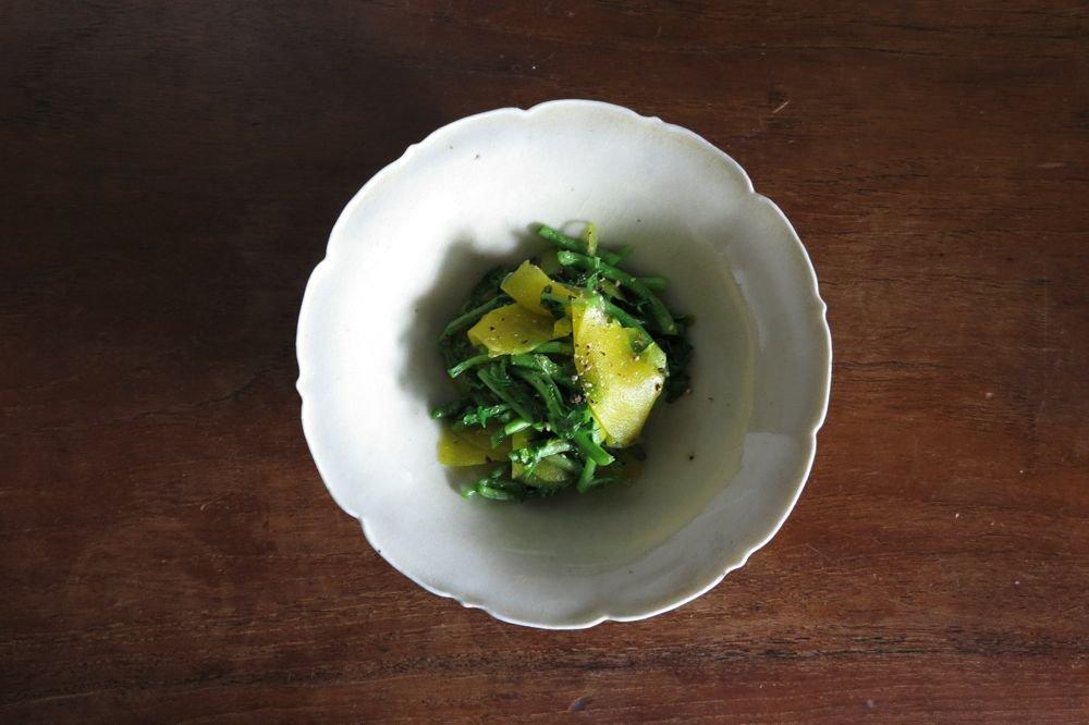 杉本太郎 白磁5寸稜花鉢