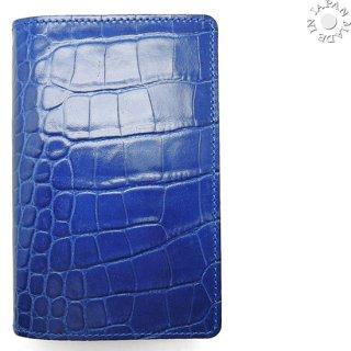 クロコ型押 本革 システム手帳 ミニ5穴ポケットオーガナイザー/ブルー