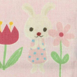 【希少】綿麻 | お花畑でかくれんぼ 1m&うさぎワッペン  ピンク  プティデポーム