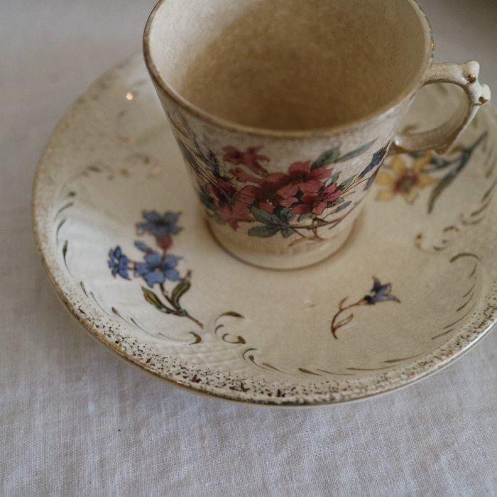 Antique アンティークカップ&ソーサー SARREGUEMINES サルグミンヌ