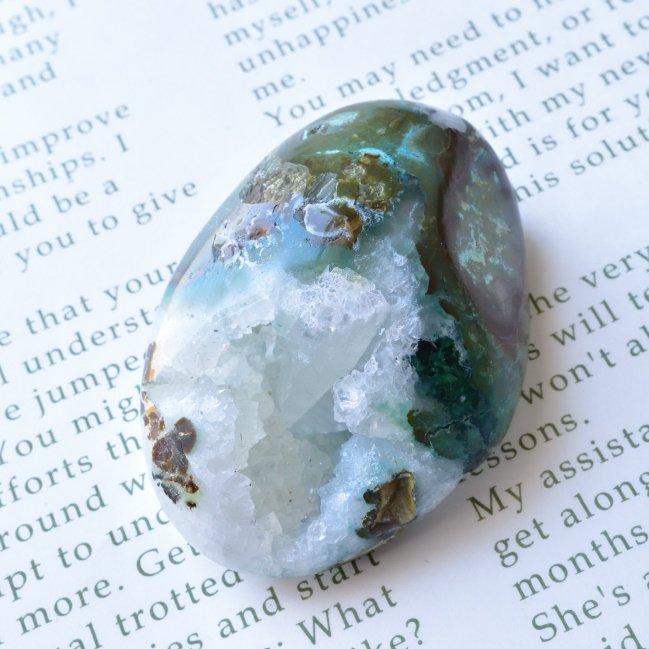 ジェムシリカ・ビッグタンブル ジオード カルサイト結晶 ペルー産 64.2g/鉱物・ヒーリング