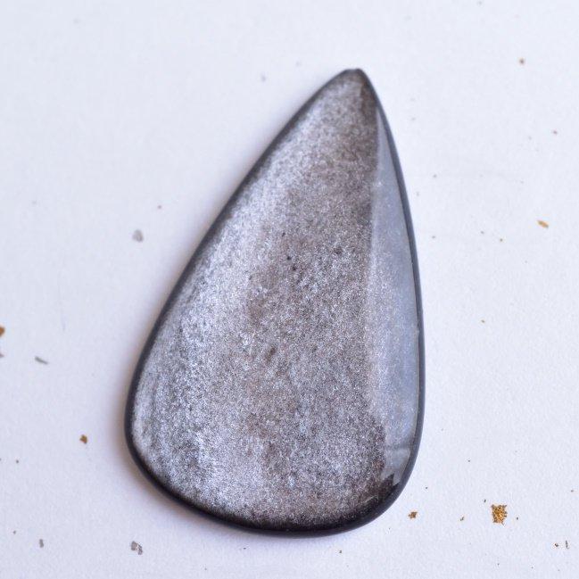シルバーシーンオブシディアン(黒曜石) なごり雪 アルゼンチン産 50cts./ ルース・カボション