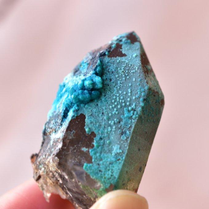 クリソコラ・オン・クォーツ 新時代のブルー ペルー産 28.7g/鉱物・結晶原石