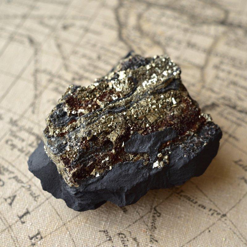 パイライト・オン・シュンガイト 祝福 ブラジル・バイーア産 343g/ 鉱物・結晶原石