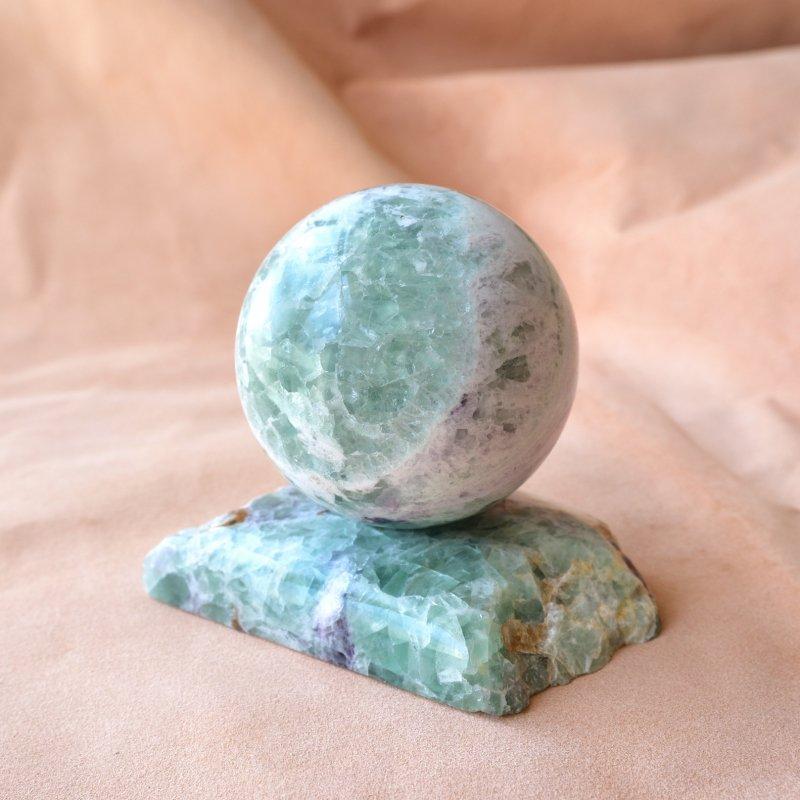 グリーンフローライト・スフィア Planet Earth モンゴル産 585g/丸玉・インテリア