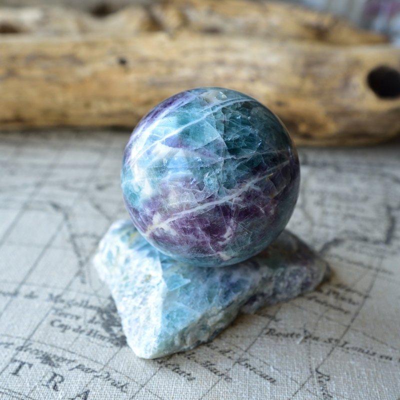 ブルーフローライト・スフィア Planet Earth モンゴル産 436g/丸玉・インテリア