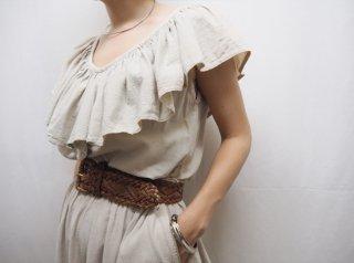 80s- Oatmeal Ruffle Cotton Dress