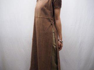 Brown Faux Suede Side Open Dress