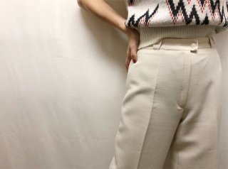 70s- Oyster White Wool Blend Wide Leg Pants