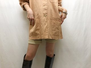 80s- Apricot Beige Oversized Linen Coverall Jacket
