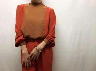 80s Terracotta Brown Silk 2pc