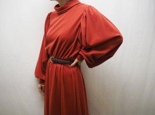 70s Terracotta Chunky Balloon Sleeve Dress