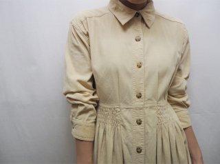 80-90s Light Beige Corduroy Shirt Dress