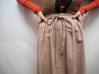70s Pink Beige Faux Suede Wrap Skirt