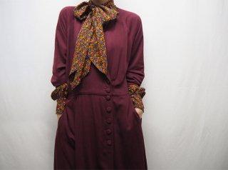90s Bordeaux Asymmetry Design Rayon Dress